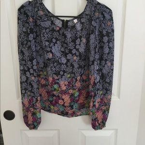 xhilaration zip up flowered blouse.